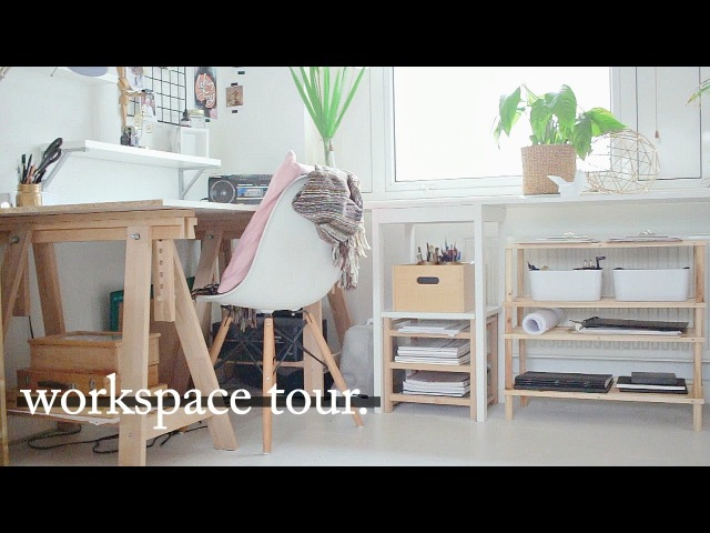 Art Workspace Desk Tour Organisation Tips · semiskimmedmin