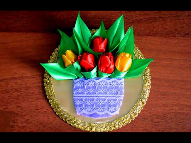 Панно магнитик из CD диска с тюльпанами в технике Канзаши Подарок на 8 марта своим