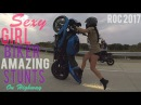 Beautiful Girl Biker Performs AMAZING Highway Motorcycle Stunts Riding Long Stunt Bike Wheelies 2017