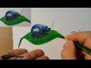 жучок цветными карандашами