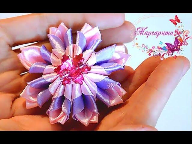 ЦВЕТОК КАНЗАШИ 🌸 Новый лепесток канзаши АЖУРНЫЙ 🌸 Kanzashi Flowers