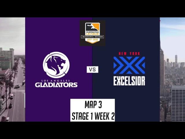 Los Angeles Gladiators vs New York Excelsior (Map 3: Oasis) | OWL S1: Stage 1 Week 2
