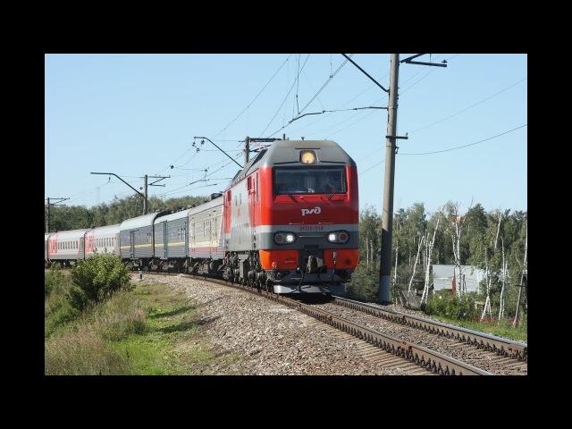ЭП2К 314 с пассажирским поездом на перегоне Люберцы-2 - Овражки Московской железно ...