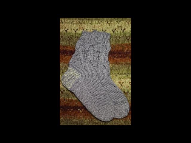 Вязание носков комбинированным узором на четырех спицах