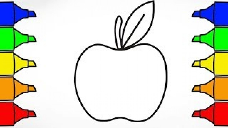 Apple Coloring Pages Learn Colors For Kids Drawing and Coloring