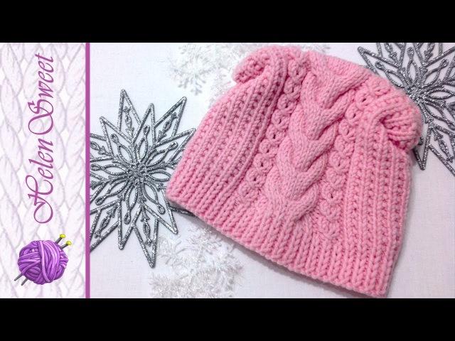 Вязаная шапка спицами | МК