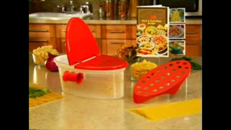 Pasta Boat -- www.SeenTVCanada.com - Microwave Pasta Cooker Strainer Server 4 the Kitchen