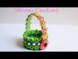 Paper Quilling Basket Green Paper Strip Basket DIY Flower Basket