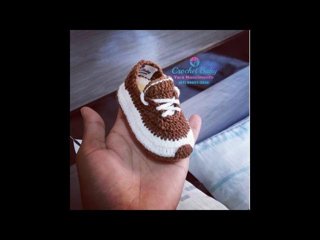 Sapatinho ICARO de crochê - Tamanho 09 cm - Crochet Baby Yara Nascimento PARTE 01