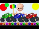 Learn Colors With Flash and Baby Boss WOODEN HAMMER Soccer Balls Funny Videos For Children Learning