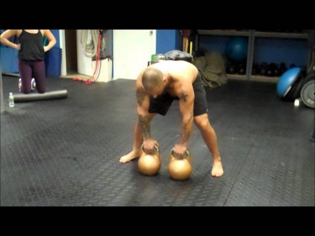 Double 48kg Kettlebell Clean Squat Press