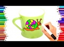 TEACH CHILDREN DRAW APPLE - CAR - SNAIL CUPS COLORING BOOK PAGES | KIDS LEARN ENGLISH ART COLORS148