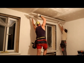 Монтаж фрезерованного 2-го уровня потолка из ГКЛ. Ремонт в старом фонде. 5 часть