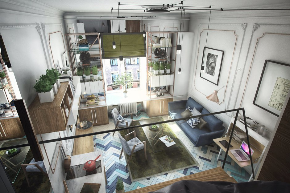 Проект квартиры 24 м (со вторым уровнем 29 м).