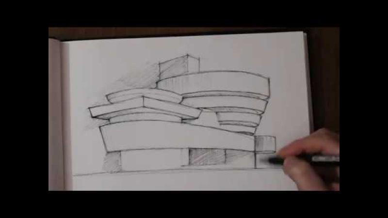 Architectural sketches | Архитектурные скетчи _ Guggenheim Museum_ Frank Lloyd Wright