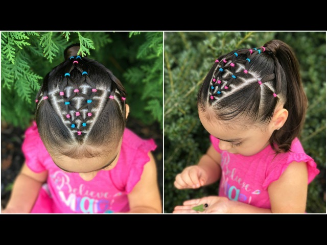 Peinado para niñas con ligas de colores y coleta Peinados fáciles y rápidos de hacer para niña LPH