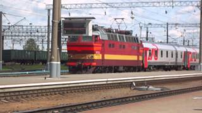 ЧС4Т 735 отправляется с поездом №23 Москва Париж