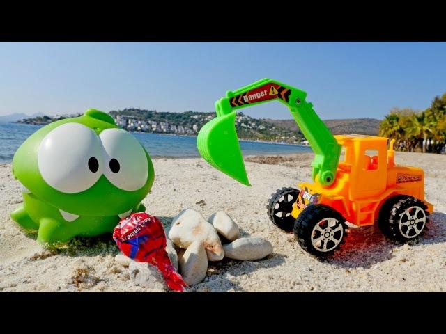 Приключения Ам Няма и экскаватора на пляже.