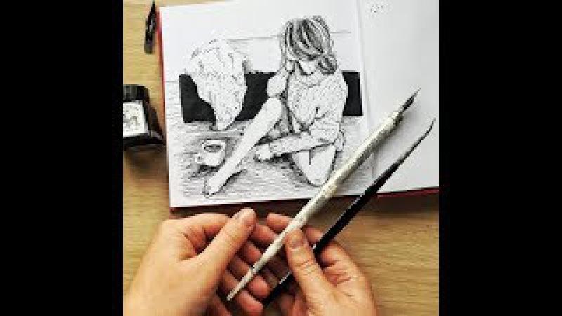 Чернильный марафон. Четвертый урок: как рисовать прическу, дерево и ткань. Запис ...