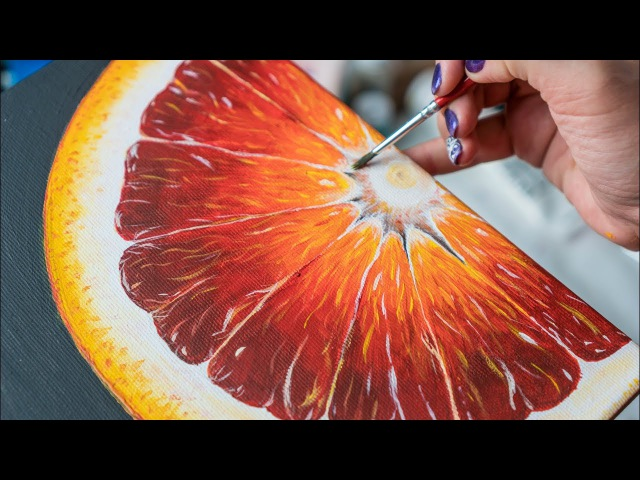 Sicilian Orange - Acrylic painting / Homemade Illustration (4k)