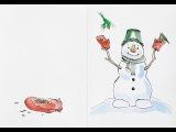 Как нарисовать снеговика. Новогодняя открытка. Акварель