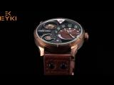 EYKI супер большой Многослойные стереоскопического набором два часовых поясов Дисплей модные спортивные часы Для мужчин Водонепр