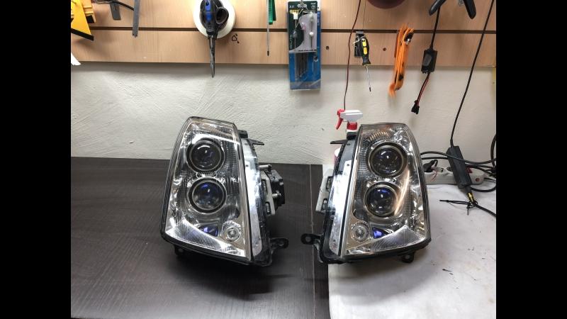 Cadillac STS Полное восстановление фар убирания заболевания и восстановления заводского блеска стекла