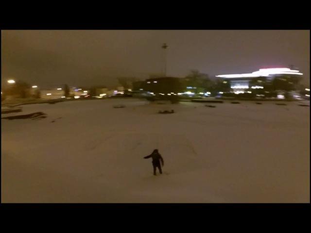 Вытоптал имя своей любимой на льду замерзшего Комсомольского пруда