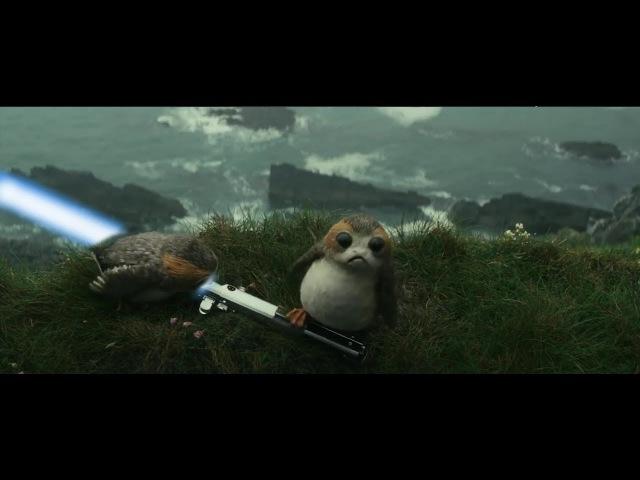 Star Wars The Last Jedi Deleted scene Porgs killed by lightsaber