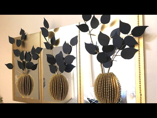 Diy Mirror Decor With 3D Decorative Flowers and Vase Using Dollar Tree Items