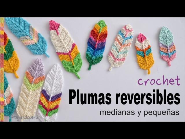 Plumas reversibles medianas y pequeñas tejidas a crochet - Tejiendo Perú