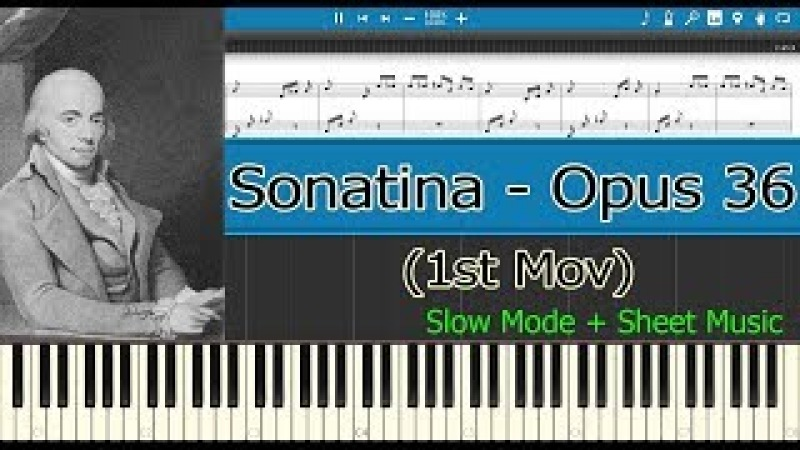 Sonatina Opus 36 N° 1, Opus 36, 1st Mov - Clementi [Slow Sheet Music] (Piano Tutorial)