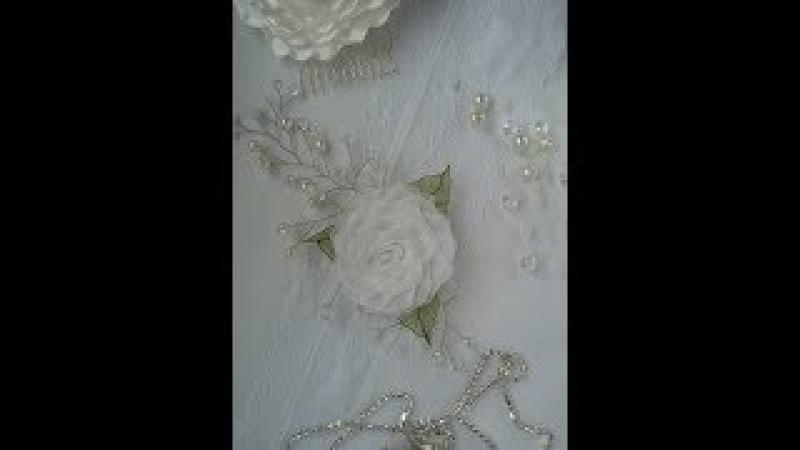 Нежная Роза Канзаши из ОрганзыБутоны для венкаDelicate rose Kanzashi OrganzaBuds to the wreath