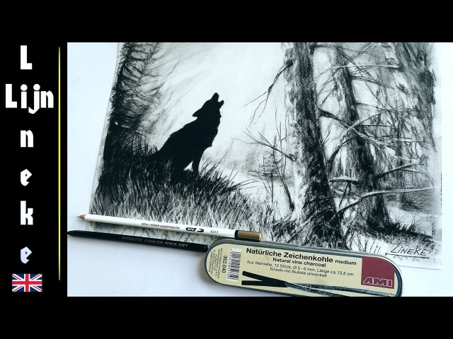 How to draw TREES and a howling WOLF! with Charcoal for beginners