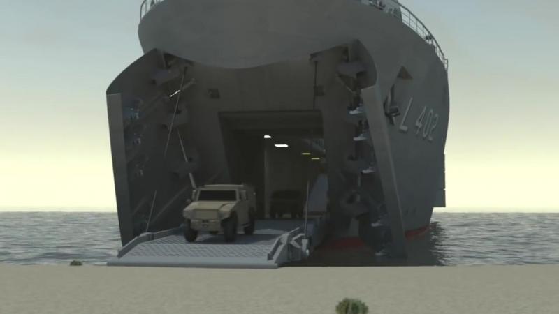 Танкодесантный корабль TCG «Bayraktar» (L-402) ВМС Турции в действии