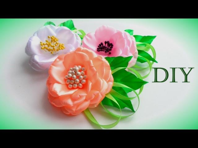 Цветы из атласных лент своими руками Мастер Класс Flowers of satin ribbons Flores de fitas Ola ameS