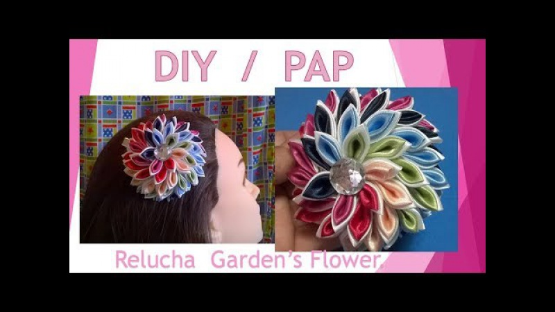 Kanzashi 145 / DIY / PAP / Linda Flor em ESPIRAL / Presilha para cabelo! By Renata Relucha