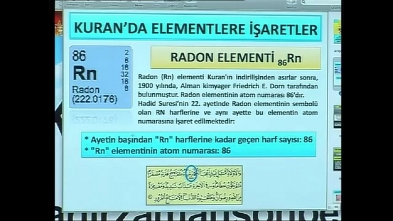 Kuran mucizeleri Kuran'da elementlere işaretler radon elementi 2
