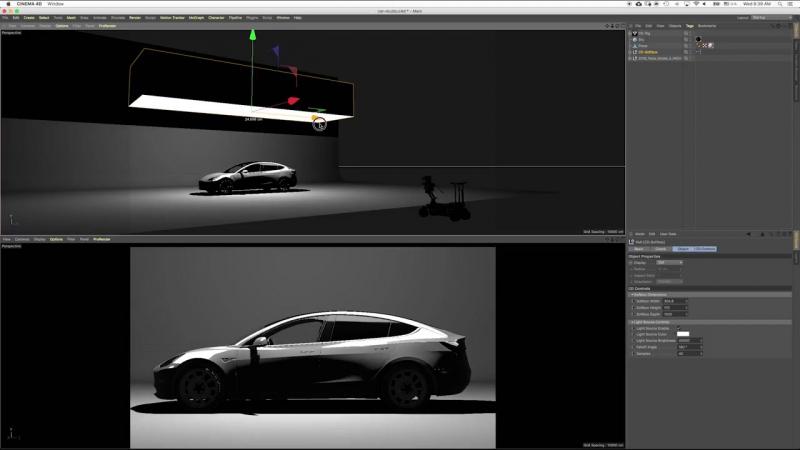 Cinema 4D R19 Тест отражений в видовом экране - Автомобильная студия освещения Tesla Model 3