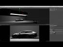 Cinema 4D R19 Тест отражений в видовом экране Автомобильная студия освещения Tesla Model 3