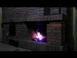 Банная печь с камином и самоваром