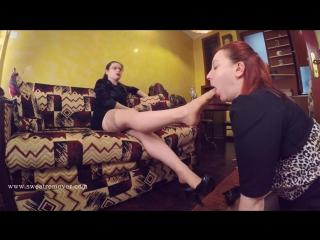 Goddess bianca госпожа и рабыня femdom foot fetish фут-фетиш girl slave licking feet lesbian #heels #stockings #nylon