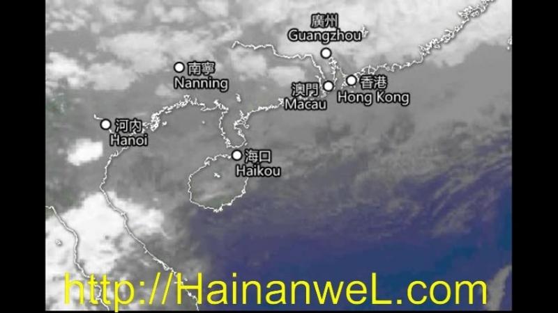 Дождливая погода в Санья, остров Хайнань, Китай 8-9 марта 2018 года - но тайфуна и урагана нет на Хайнане - видео со спутника