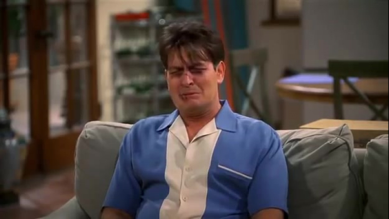 Two and a Half Men Charlie Tries to cry feel his feelings