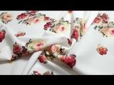 костюмная ткань креп принт розы фон белый