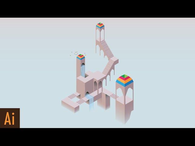 Create Isometric Art Part 3 Visual Style of Monument Valley Illustrator Tutorial