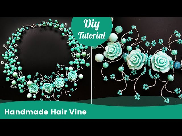 Hair Accessory Ideas. Handmade DIY Hair Vine from Beads and Wire
