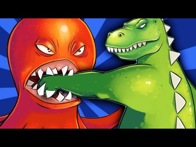 ОГРОМНЫЙ ОСЬМИНОГ против ГОДЗИЛЛЫ Веселое видео для детей в необычной игре про Осьминога ФГТВ