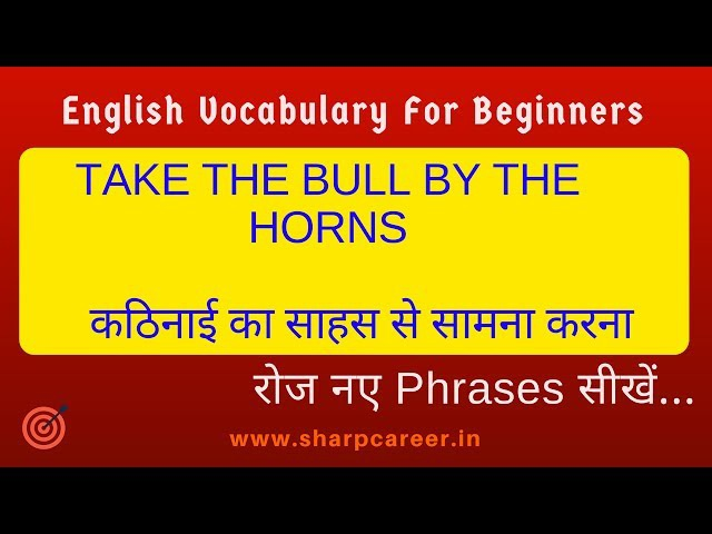 Learn use of Phrase 'Take the bull by the horn |2 Words,2 Phrases 2Phrasal Verbs| english speaking