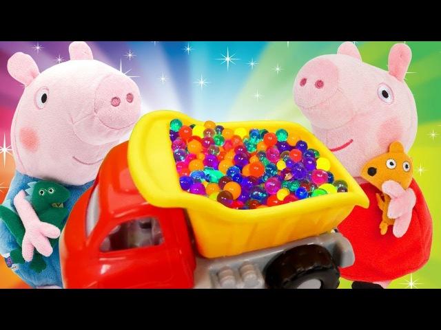 Peppa ve George domuzcuklar renkli Orbeez kamyona yüklüyorlar! Okul öncesi RENKLERİ öğren!